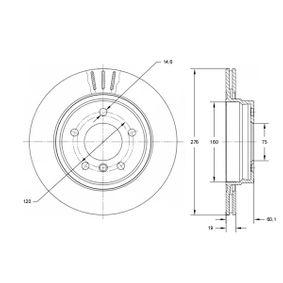 Bremsscheibe Bremsscheibendicke: 19mm, Lochanzahl: 5, Ø: 276mm mit OEM-Nummer 1162315