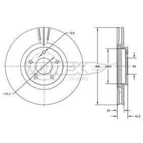 Bremsscheibe Bremsscheibendicke: 26mm, Lochanzahl: 5, Ø: 296mm mit OEM-Nummer 40206-JD00B