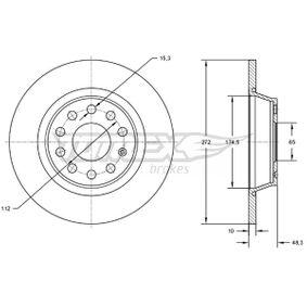Bremsscheibe Bremsscheibendicke: 10mm, Lochanzahl: 9, Ø: 272mm mit OEM-Nummer 5Q0 615 601D