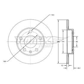 Bremsscheibe Bremsscheibendicke: 12mm, Lochanzahl: 5, Ø: 268mm mit OEM-Nummer 569073