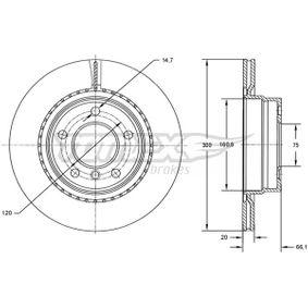 Bremsscheibe Bremsscheibendicke: 20mm, Lochanzahl: 5, Ø: 300mm mit OEM-Nummer 6764651