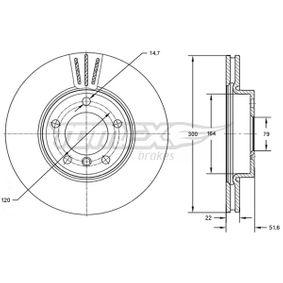 Bremsscheibe Bremsscheibendicke: 22mm, Lochanzahl: 5, Ø: 300mm mit OEM-Nummer 3411 6855 152