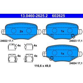 Bremsbelagsatz, Scheibenbremse Breite: 116,6mm, Höhe: 49,8mm, Dicke/Stärke: 17,1mm mit OEM-Nummer 68029-887AA