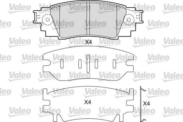 VALEO  601687 Brake Pad Set, disc brake Width: 121,1mm, Height: 42,9mm, Thickness: 14,5mm