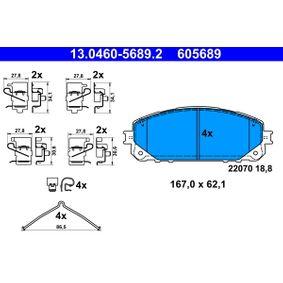 Bremsbelagsatz, Scheibenbremse Breite: 167,0mm, Höhe: 62,1mm, Dicke/Stärke: 18,8mm mit OEM-Nummer 68212 327AB