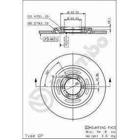BREMBO  08.2793.20 Bremsscheibe Bremsscheibendicke: 10mm, Lochanzahl: 6, Ø: 258mm