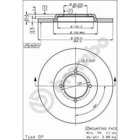 Disco freno 08.4496.10 SAPPORO 1 (A12) 2.0 ac 1978