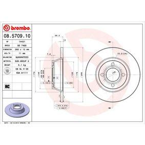 Bremsscheibe Bremsscheibendicke: 13mm, Lochanzahl: 4, Ø: 280mm mit OEM-Nummer 8A0615301/D