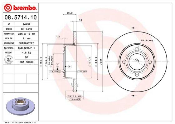 Bremsscheiben 08.5714.10 BREMBO 08.5714.10 in Original Qualität