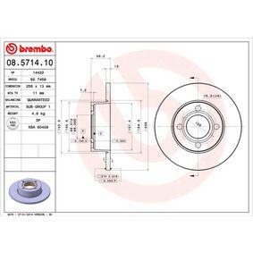 Bremsscheibe Bremsscheibendicke: 13mm, Lochanzahl: 4, Ø: 256mm mit OEM-Nummer 895.615.301