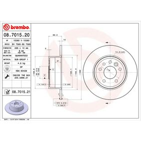 Bremsscheibe Bremsscheibendicke: 10mm, Lochanzahl: 5, Ø: 286mm mit OEM-Nummer 48 39 338