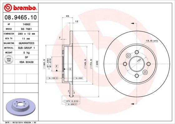 Bremsscheiben 08.9465.10 BREMBO 08.9465.10 in Original Qualität