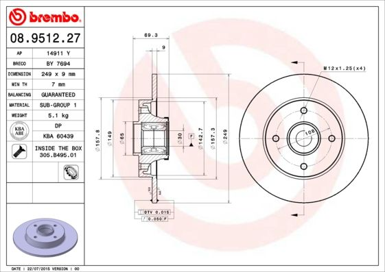 Article № 08.9512.27 BREMBO prices