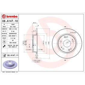Brake Disc 08.A147.10 CIVIC 8 Hatchback (FN, FK) 1.6 MY 2020