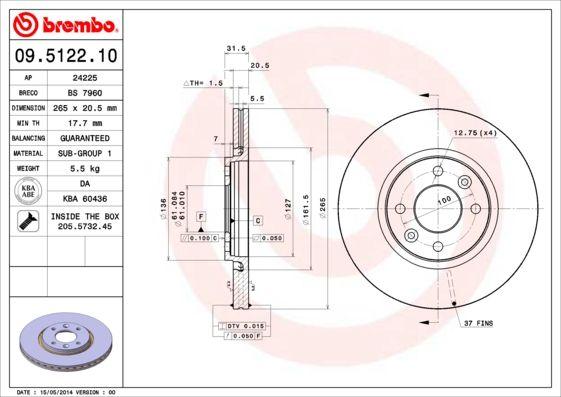 Bremsscheiben 09.5122.10 BREMBO 09.5122.10 in Original Qualität