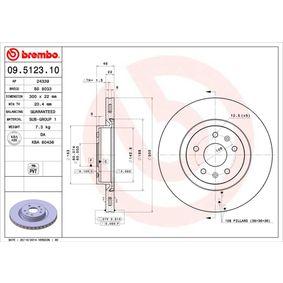 BREMBO  09.5123.10 Bremsscheibe Bremsscheibendicke: 22mm, Lochanzahl: 5, Ø: 300mm