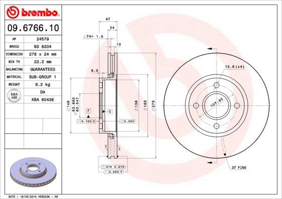 Bremsscheiben 09.6766.10 BREMBO 09.6766.10 in Original Qualität