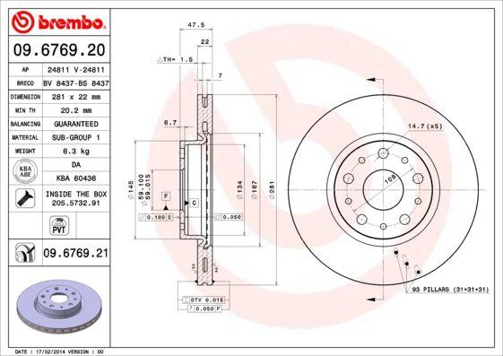 Bremsscheiben 09.6769.20 BREMBO 09.6769.20 in Original Qualität