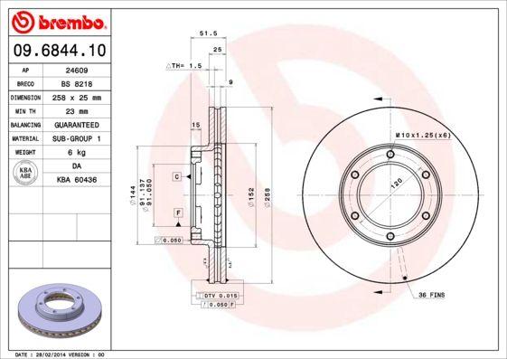 Bremsscheiben 09.6844.10 BREMBO 09.6844.10 in Original Qualität