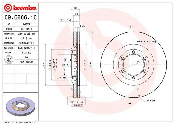Discos de Freno 09.6866.10 BREMBO 09.6866.10 en calidad original