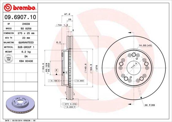 Bremsscheiben 09.6907.10 BREMBO 09.6907.10 in Original Qualität