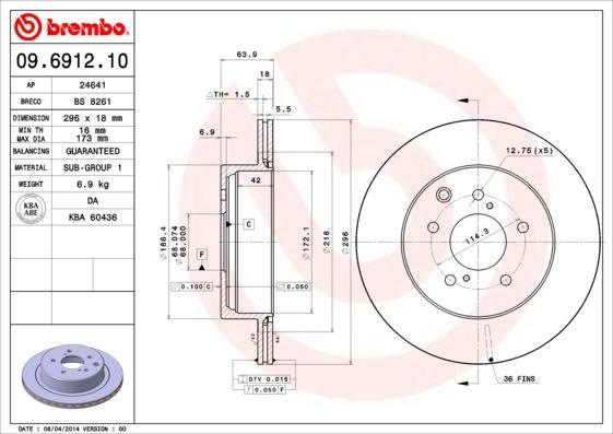 Bremsscheiben 09.6912.10 BREMBO 09.6912.10 in Original Qualität