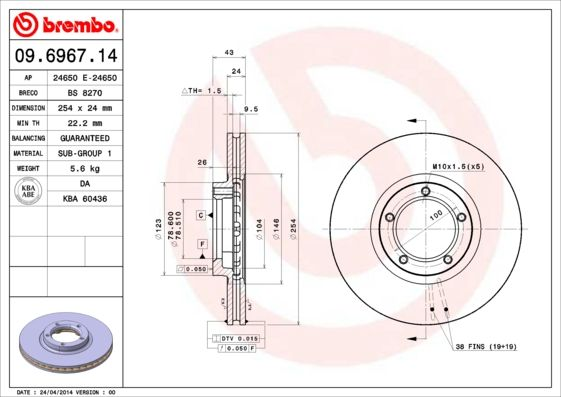 Bremsscheiben 09.6967.14 BREMBO 09.6967.14 in Original Qualität
