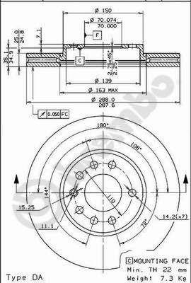 BREMBO  09.6997.24 Bremsscheibe Bremsscheibendicke: 25mm, Lochanzahl: 5, Ø: 288mm