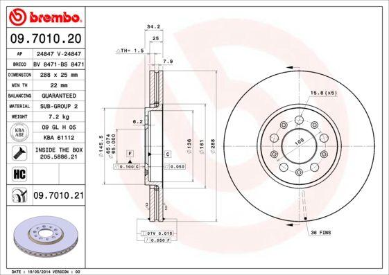 Bremsscheiben 09.7010.20 BREMBO 09.7010.20 in Original Qualität