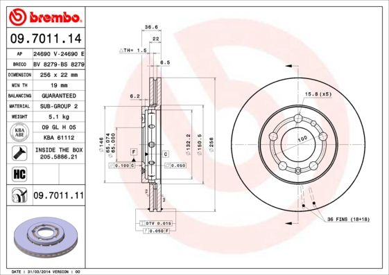 Article № 09.7011.11 BREMBO prices