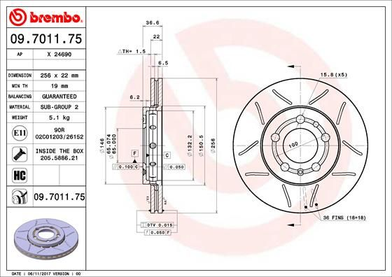 09.7011.75 BREMBO from manufacturer up to - 20% off!
