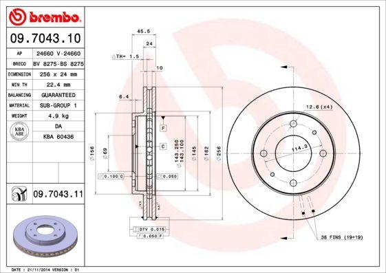 Bremsscheiben 09.7043.10 BREMBO 09.7043.10 in Original Qualität