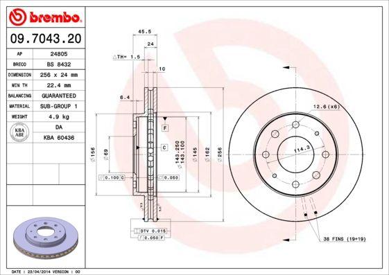 Bremsscheiben 09.7043.20 BREMBO 09.7043.20 in Original Qualität