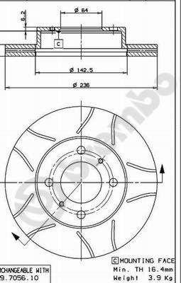 Bremsscheiben 09.7056.75 BREMBO 09.7056.75 in Original Qualität