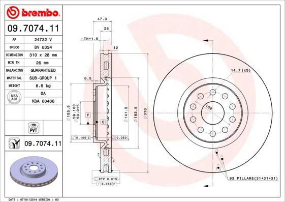 Bremsscheiben 09.7074.11 BREMBO 09.7074.11 in Original Qualität