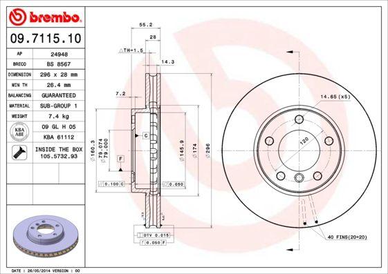 Bremsscheiben 09.7115.10 BREMBO 09.7115.10 in Original Qualität