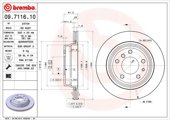 Bremsscheiben 09.7116.10 BREMBO 09.7116.10 in Original Qualität