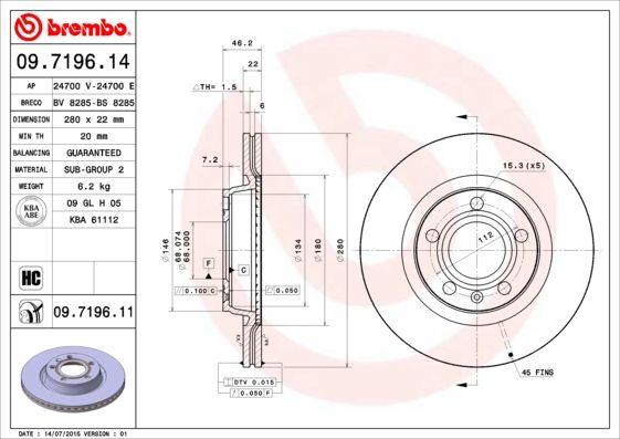 Bremsscheiben 09.7196.14 BREMBO 09.7196.14 in Original Qualität