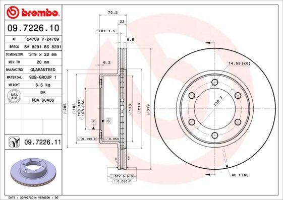 Bremsscheiben 09.7226.10 BREMBO 09.7226.10 in Original Qualität