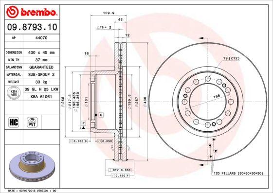 Bremsscheiben 09.8793.10 BREMBO 09.8793.10 in Original Qualität