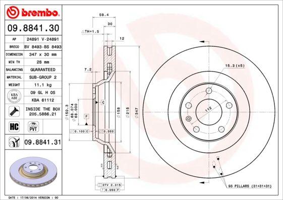 Bremsscheiben 09.8841.30 BREMBO 09.8841.30 in Original Qualität