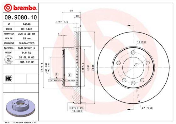 BREMBO 09.9080.10 EAN:8020584908013 Shop