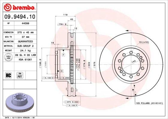 Bremsscheiben 09.9494.10 BREMBO 09.9494.10 in Original Qualität