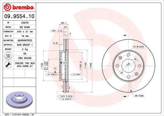 Bremsscheiben 09.9554.10 BREMBO 09.9554.10 in Original Qualität