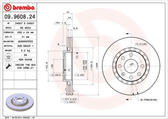 Bremsscheiben 09.9608.24 BREMBO 09.9608.24 in Original Qualität