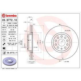 Bremsscheibe Bremsscheibendicke: 25mm, Lochanzahl: 5, Ø: 312mm mit OEM-Nummer 1KD615301D