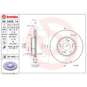 Brake Disc 09.A455.14 CIVIC 8 Hatchback (FN, FK) 1.6 MY 2006