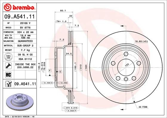 Bremsscheiben 09.A541.11 BREMBO 09.A541.11 in Original Qualität
