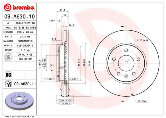 Bremsscheibe BREMBO 09.A630.10
