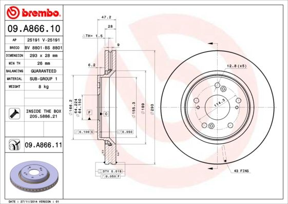 Brake Discs 09.A866.10 BREMBO 09.A866.10 original quality